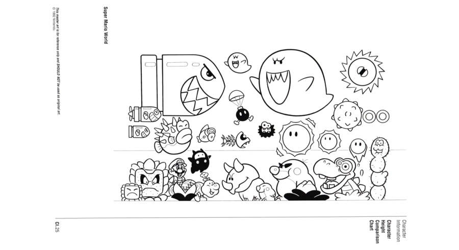 Nintendo Official Character Manual tabela de proporções
