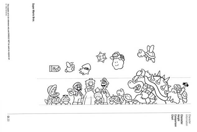 Nintendo Official Character Manual tabela de estaturas 2