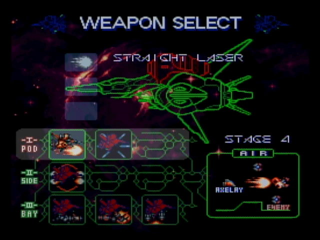 axelay weapons select
