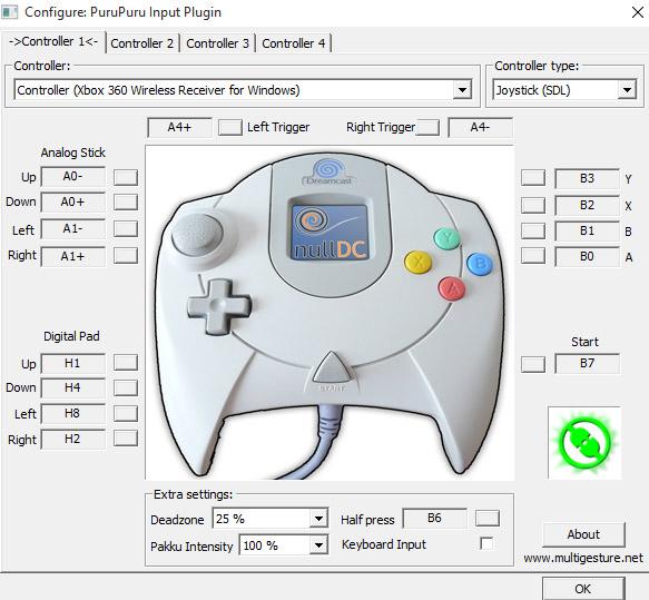 xbox controle dreamcast nulldc purupuru